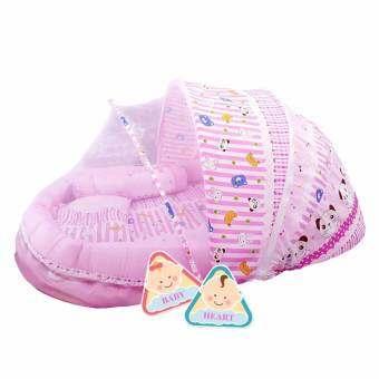 BABY heart ชุดที่นอนมุ้ง จัมโบ้รุ่น 2 in 1 พร้อมหมอนและ หมอนข้าง {แพนด้าสีชมพู}-