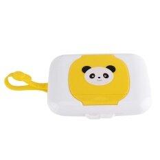 รถเข็นเด็กทารกท่องเที่ยวกลางแจ้งกล่องกระดาษทำความสะอาดเปียกเนื้อเยื่อสีขาวและเหลือง - นานาชาติ.