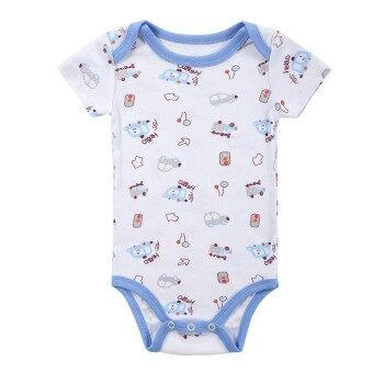 Baby Rompers Bodysuit 100% Cotton Short Sleeve Unisex Newborn Baby Clothing 3-6M - intl