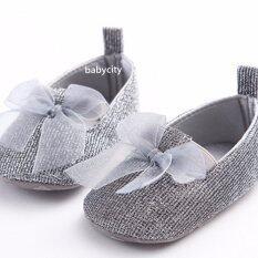 ราคา รองเท้าหัดเดิน รองเท้าเด็กอ่อน รองเท้าเด็กพื้นผ้า Baby Shoe Prewalker ของใช้เด็กอ่อน รองเท้าทารก รองเท้าเด็กเล็ก รองเท้าบูทเด็กอ่อน สีเทา ออนไลน์