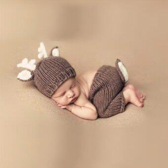 Baby Shower Gifts Crochet Knit Deer Costume Clothing Sets Size Newborn Through 4 Months - Intl