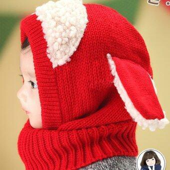 เด็กทารกหมวกผ้าพันคอหมวกอุ่นหนาวถักหมวกปิดหูหมวกฮู้ด (สีแดง)