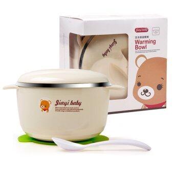 Baby Warming Plate Tableware Dinnerware With Spoon - Intl