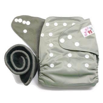 BABYKIDS95 กางเกงผ้าอ้อม ชาโคลขอบปกป้อง พร้อมแผ่นซับชาโคล A7 (1 ตัว+1 แผ่น) -Solid Grey