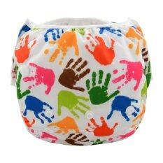 โปรโมชั่น Babykids95 กางเกงว่ายน้ำเด็ก กางเกงผ้าอ้อม ว่ายน้ำ Size 8 13 5 Kg ลายมือเด็ก สีขาว Babykids95