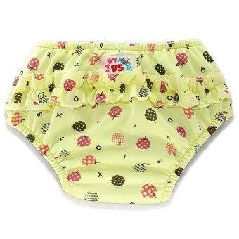 BABYKIDS95 ผ้าอ้อมว่ายน้ำ มีเป้าซับ เอวสวม Size L (รอบเอว 14-21 นิ้ว) - Yellow/Cherry