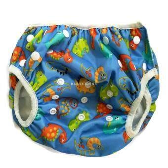 BABYKIDS95 ผ้าอ้อมว่ายน้ำ ซักได้Swim Nappy7-15 kg.ปรับเอวและต้นขาได้ กันอึลงสระ (light blue dragons)