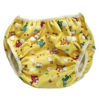 BABYKIDS95 ผ้าอ้อมว่ายน้ำ ซักได้Swim Nappy7-15 kg.ปรับเอวและต้นขาได้ กันอึลงสระ (yellow animal)