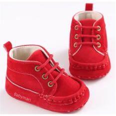 ราคา Babymari รองเท้าเด็กพื้นผ้า รองเท้าเด็กเล็ก รองเท้าผ้าใบเด็ก รองเท้าทรงหุ้มข้อ รองเท้าเด็กเท่ รองเท้าเด็กหัดเดิน สีแดง ใหม่
