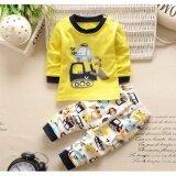 ขาย Babymari ชุดนอนเด็ก ชุดนอนเด็กผ้านิ่มลายรถสีเหลือง เซ็ทชุดนอนรุ่นขายดี เสื้อหนาวเด็กผ้านิ่ม ออนไลน์