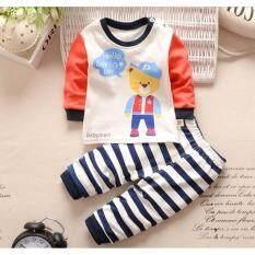 ราคา Babymari ชุดนอนเด็ก ชุดนอนเด็กผ้านิ่มลายหมีใส่หมวก เซ็ทชุดนอนรุ่นขายดี เสื้อหนาวเด็กผ้านิ่ม ใหม่ ถูก