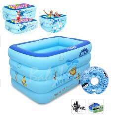 ส่วนลด Babymom Neolife Unme สระว่ายน้ำ อ่างอาบน้ำเป่าลม ขนาด 140 105 85 Cm สีฟ้าลายสิงโต พร้อมห่วงคอว่ายน้ำ ปั๊มไฟฟ้า 3 หัวสูบ