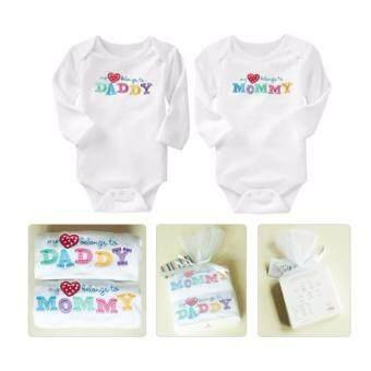 Babyshop656 ชุดเด็ก ชุดเด็กอ่อน เสื้อผ้าเด็ก ของขวัญเด็กแรกเกิด บอดี้สูท แพค2ชิ้น สีขาว (รุ่นบีลอง) – Baby clothes 2pcs set white (belongs)
