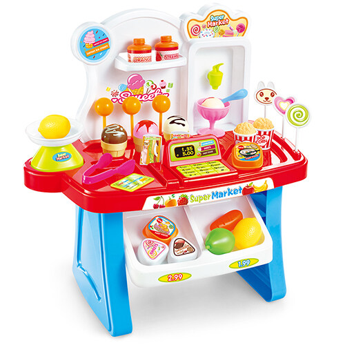 BB Kids Kitchen bag MiniMarket set 34 Pie (สีแดง)