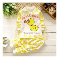 ราคา Bear Fashion Baby Boys Cartoon Small Duck Casual Clothing Kids 2Pcs Long Sleeve Top Pant Clothing Set Intl ใหม่