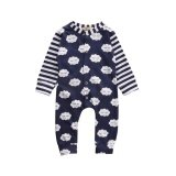 Blackhorse Newborn Babies Cute White Clouds Stripe Long Sleeve Jumpsuit For Height 70Cm Intl จีน