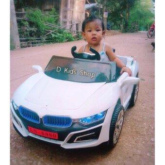 รถแบตเตอรี่เด็ก รถเด็กนั่งBMW บังคับวิทยุด้วยรีโมทและขับธรรมดา สีขาว