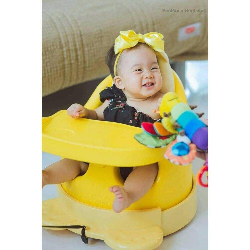 Bonbebe Jumbo Baby Seat เก้าอี้หัดนั่ง เก้าอี้ทานข้าว สีเหลือง รุ่นใหม่ล่าสุด ตัวใหญ่พกพาง่าย มีสายจูงล้อลาก