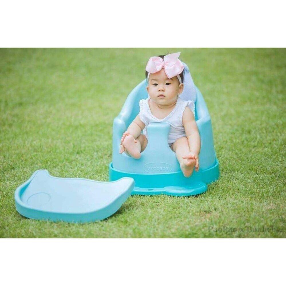 รีวิว Bonbebe Jumbo Baby Seat เก้าอี้หัดนั่ง เก้าอี้ทานข้าว สีฟ้า รุ่นใหม่ล่าสุด ตัวใหญ่พกพาง่าย มีสายจูงล้อลาก
