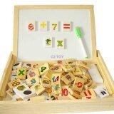 C2Toy ของเล่นไม้ กระดานโน๊ตบุค 2 In 1 พร้อมจิ๊กซอว์แม่เหล็กตัวเลข เป็นต้นฉบับ