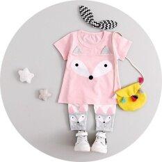 ราคา Carter S ชุดเด็กผู้หญิงเสื้อแขนสั้นสีชมพูสกรีนลายการ์ตูน กางเกงเลคกิ้งเข้าชุด ไซส์ 18 เดือน