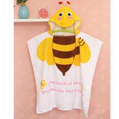 การ์ตูน Bee พิมพ์ผ้าฝ้าย 100% เด็กเสื้อคลุมอาบน้ำมีฮู้ดผ้าเช็ดตัวทารกเสื้อคลุมอาบน้ำสำหรับเด็กทารกเสื้อคลุมอาบน้ำชุดชายหาดของขวัญ 60x120 เซนติเมตร - Intl By Sushine Baby.