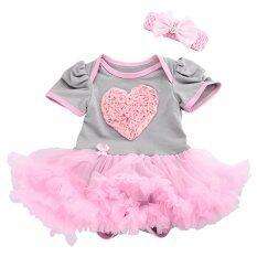 โปรโมชั่น Cocotina 2ชิ้นลายหัวใจทารกหญิงแรกเกิดเด็กเปลี่ยนมาแต่งตัวกระโปรงบอดี้สูทผู้ทำเสียงอึกทึกครึกโครม เสื้อผ้าแฟชั่น สีชมพู และสีเทา ใน จีน
