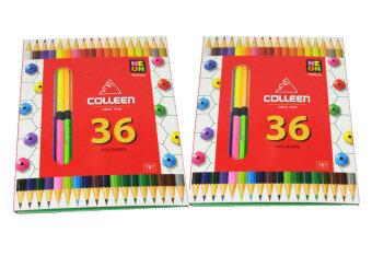 Colleen ดินสอสีไม้ คลอรีน 2 หัว 36 สีรุ่น787 สีธรรมดา+นีออน( 2 กล่อง)