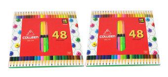 Colleen ดินสอสีไม้ คลอรีน 2 หัว 48 สีรุ่น787 สีธรรมดา+นีออน( 2 กล่อง)