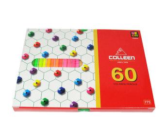 Colleen สีไม้ Color Pencils ดินสอสี เนื้อนุ่ม 60 แท่ง 60 สี คอลลีน รุ่น775 สีธรรมดา+นีออน