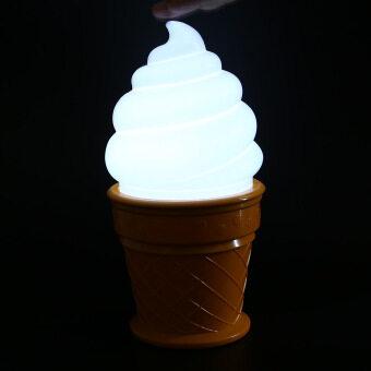 ไอศครีม Coowalk สร้างสรรค์นำโคมไฟกลางคืนสำหรับเด็กห้องนอนเด็กรูปกรวยโคมไฟตั้งโต๊ะ (สีขาว) -นานาชาติ