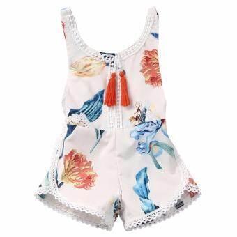 ผ้าฝ้ายทารกแรกเกิดเด็กสาว Romper Jumpsuit ฤดูร้อนดอกไม้ชุดเสื้อผ้า Sunsuit - นานาชาติ-