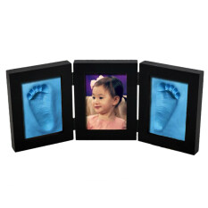 Creative เด็กพิมพ์กรอบรูปเด็กวัยหัดเดินทารกแรกเกิด Handprint Footprint Clean Touch Clay 3d เด็กเด็กผู้หญิงเด็กผู้ชายเท้ามือพิมพ์ Casting Clay โต๊ะกรอบรูปชุดอุปกรณ์สำหรับทำของที่ระลึกของขวัญประดับ - Black & Blue Clay - Intl By Bxt Shop.