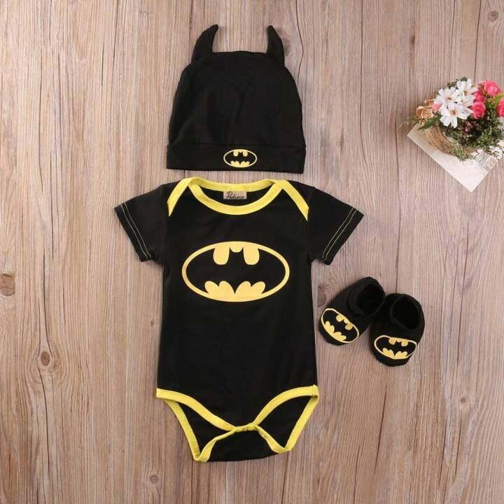 84198ba2d175 ราคา Cute Newborn Baby Boys Infant Rompers+Shoes+Hat 3Pcs Outfit ...