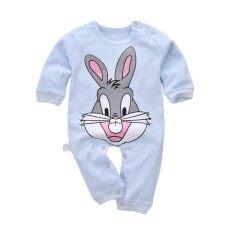 กระต่ายน่ารักพิมพ์เด็กทารกหนึ่งชิ้นแขนยาวฝ้าย Jumpsuit Romper - นานาชาติ.