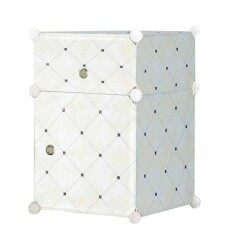 Diy Plus ตู้ข้างเตียง ตู้เก็บของ ตู้อเนกประสงค์ ตู้เสื้อผ้าแบบพับเก็บได้ ถอดประกอบได้ [1.5box - ลายจุด สีเขียวอ่อน].