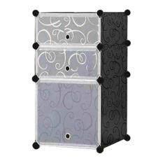 Diy Plus ตู้ข้างเตียง ตู้เก็บของ ตู้อเนกประสงค์ ตู้เสื้อผ้าแบบพับเก็บได้ ถอดประกอบได้ [2boxb - หน้าขาว สีดำ].