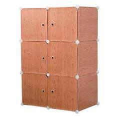 Diy Plus ตู้เสื้อผ้า ตู้เก็บของ ตู้อเนกประสงค์ ตู้เสื้อผ้าแบบพับเก็บได้ ถอดประกอบได้ [6boxa - ลายไม้ สีน้ำตาลเข้ม].