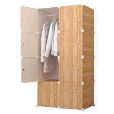 Diy Plus ตู้เสื้อผ้า ตู้เก็บของ ตู้อเนกประสงค์ ตู้เสื้อผ้าแบบพับเก็บได้ ถอดประกอบได้ [8box - ลายไม้ สีน้ำตาลอ่อน].