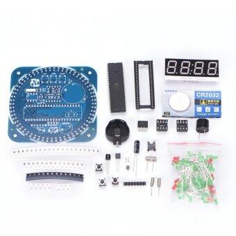 DS1302 Digital LED Display Module Alarm Electronic Clock Temperature DIY Kit sale Blue 81mm*81mm*1.6mm - intl