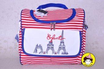 Enfant กระเป๋าสัมภาระสำหรับคุณแม่ หอไอเฟลกำลังก่อสร้าง 3Step พื้นขาวขีดแดง