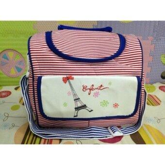 กระเป๋าสัมภาระคุณแม่ Enfant สีแดงลายขวางเล็ก