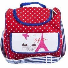 ENFANT กระเป๋าคุณแม่ลายจุด หอไอเฟล สีแดง