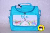 ทบทวน Enfant กระเป๋าสัมภาระสำหรับคุณแม่ หอไอเฟลสกรีนเป็นภาพเขียนสีน้ำ จุดขาวเล็กพื้นสีเขียวมิ้นท์ Enfant