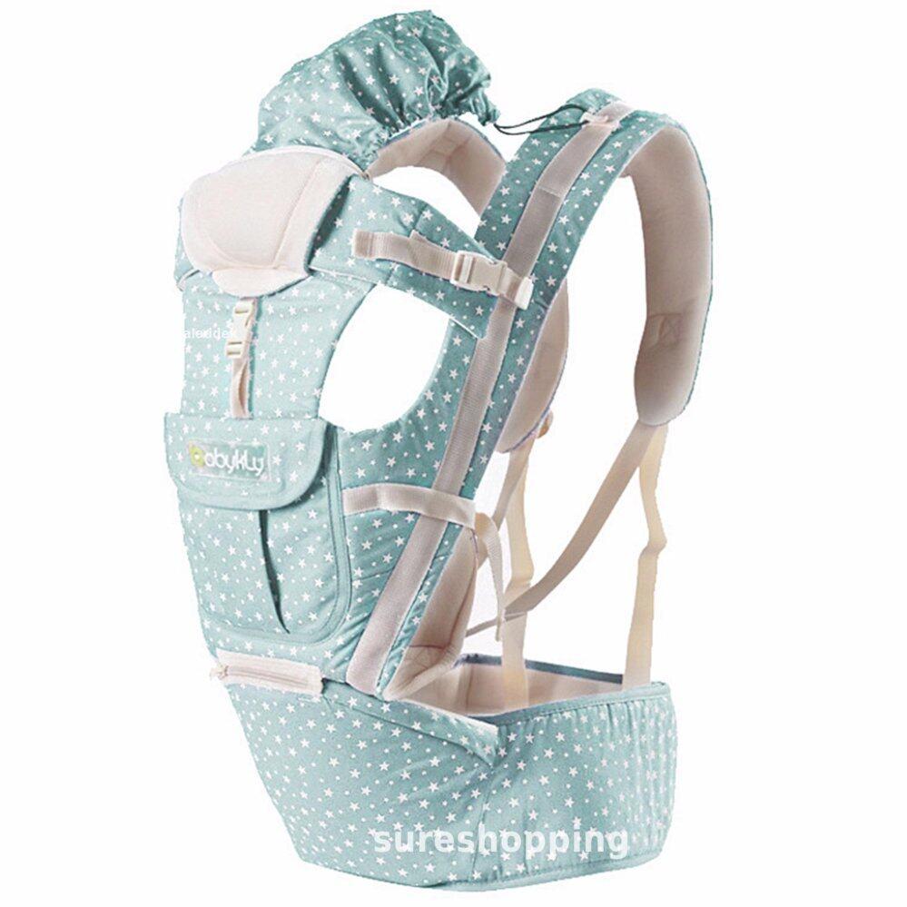 โปรโมชั่น เป้อุ้มเด็ก เป้สะพายเด็ก เป้อุ้มทารก เป้อุ้ม Baby Carrier รุ่นขายดี สีฟ้าพลาสเทล ลายดาว