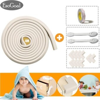 EsoGoal โฟมยางกันกระแทกขอบโต๊ะEdge Furniture Protectors with Free 2 pack Baby Safety Cabinet Locks - intl