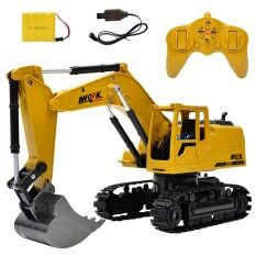 รถแม็คโครบังคับ รถก่อสร้างของเล่น หัวเหล็กตักดินได้ Excavator Die Cast 8 Ch 2.4 Ghz ขนาด 1:24.