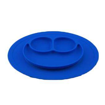 Fancyqube One-Piece Silicone Place Mat + Plate Tray Baby Toddler Kids Suction Table Blue Color - intl