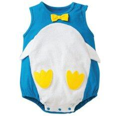 เสื้อแฟชั่นสไตล์การ์ตูนเด็กเสื้อยืดสีฟ้านกเพนกวิน เป็นต้นฉบับ