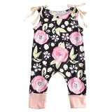 ซื้อ Fashion Newborn Baby G*rl Clothes Summer Sleeveless Floral Romper Playsuit Outfit Toddler Kids Clothing Black Intl